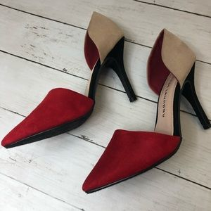 Chinese Laundry Faux Suede Tri-color Heels Sz 7